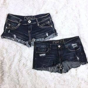 Rue 21 Dark Wash Denim Cut Off Shorts Bundle 7/8